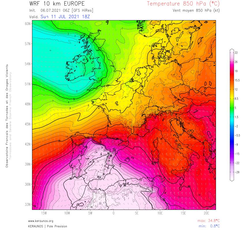Une remontée d'air extrêmement chaud est prévue sur l'#Espagne en fin de semaine, avec un pic dimanche où les T850 pourraient dépasser 30°C. Des pointes à 45/47°C au sol sont envisageables en Espagne. Au #Maroc, des pointes à 50°C sont modélisées (notamment près d'Agadir).