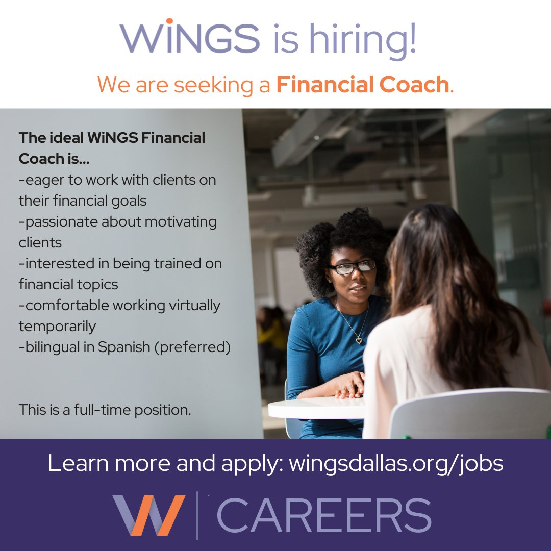 test Twitter Media - Ready for your next career? We are seeking a full-time Financial Coach who is excited to work with WiNGS clients on their financial goals. Have an impact in Dallas - join the WiNGS team. Visit https://t.co/AhxNZzRNQN to learn more and apply. #jobopening https://t.co/vUtCMVdA97
