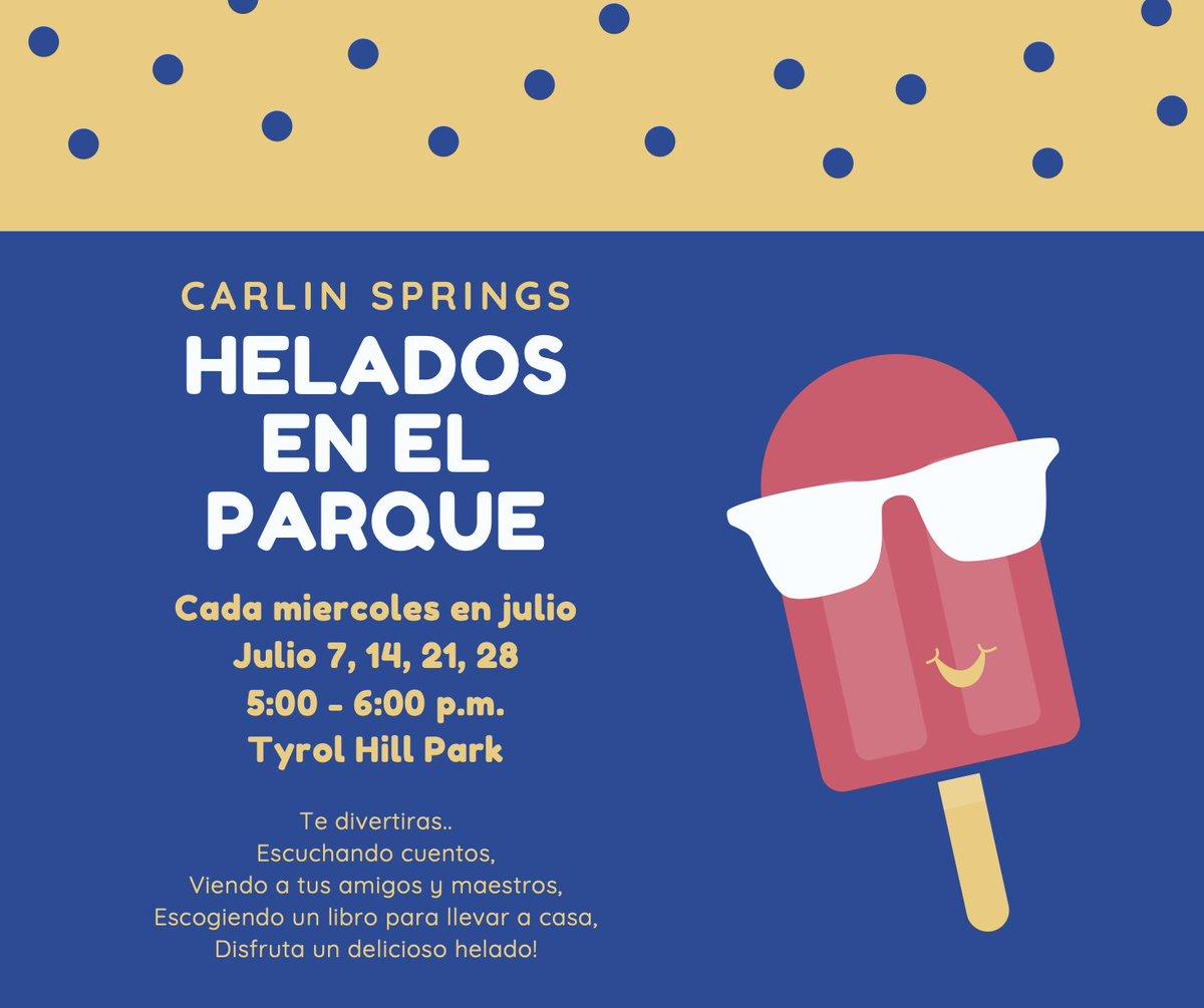 Familias de Carlin Springs - Esta noche tendremos helados en el parque de 5 a 6 pm en Tyrol Hill Park. ¡Venga y escuche a sus maestros leer historias emocionantes, disfrutar de helados y llevarse libros gratis a casa! <a target='_blank' href='https://t.co/YSMzUh8DMw'>https://t.co/YSMzUh8DMw</a>