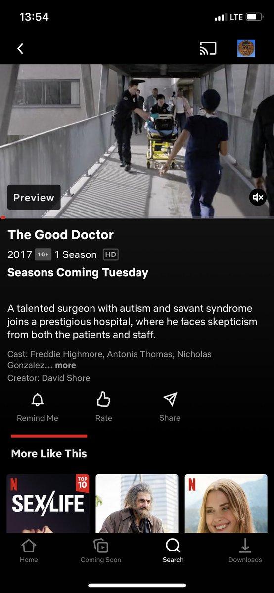 Good doctor will be on netflix lets go.#thegooddoctor #shaunandlea