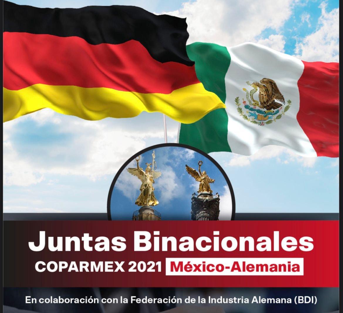 """Coparmex Nacional on Twitter: """"🇲🇽🤝🇩🇪 En la inauguración de nuestras  primeras Juntas Binacionales #Coparmex 2021 Alemania - México, dialogamos  sobre los objetivos de la cooperación junto al embajador Peter Tempel,  nuestro presidente @"""