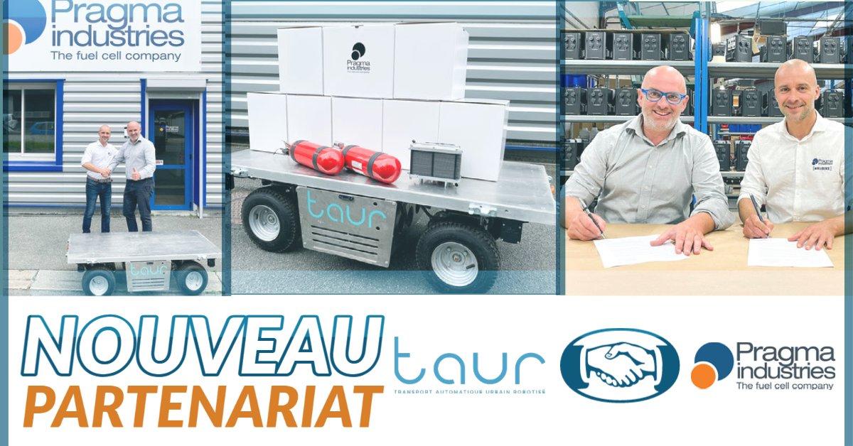 @TAURobotique et Pragma signent un partenariat de 3 ans. Objectif : conversion à l'#hydrogène des véhicules robotisés. Pragma va dériver sa technologie développée pour les #vélos #h2 et l'adapter aux robots de manutention TAUR.  #delivery #FrenchTech #fuelcell #energyefficiency