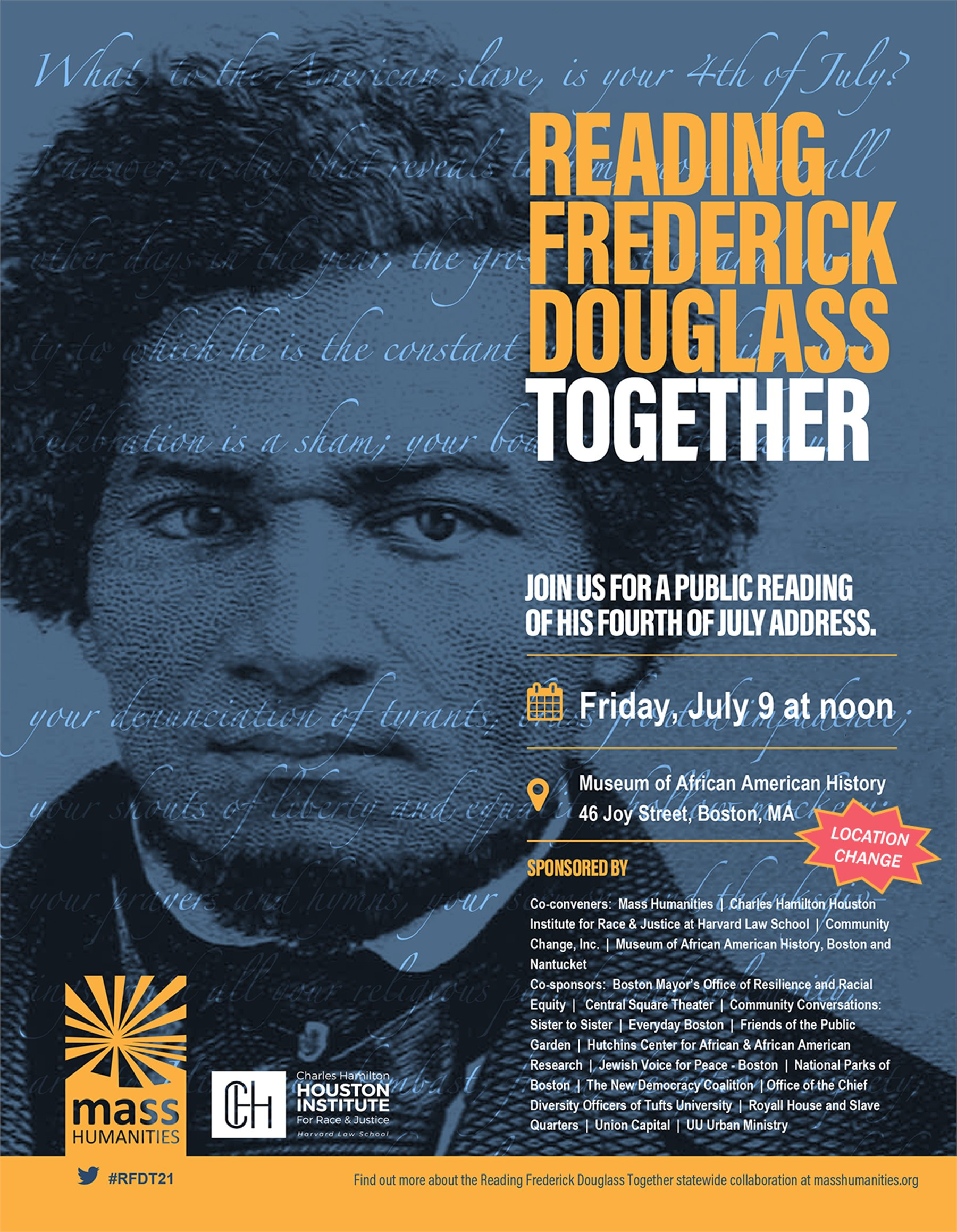"""annual reading of Frederick Douglass' """"What to the Slave is the Fourth of July?"""""""