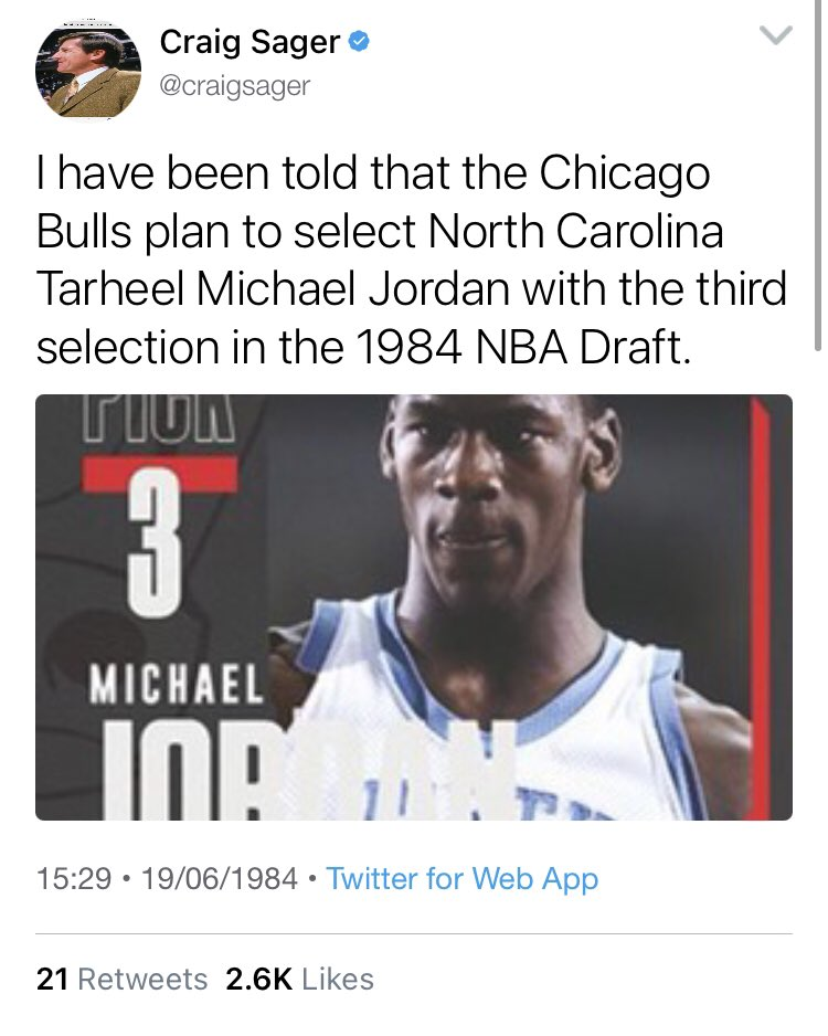 NBA Twitter reacts to Michael Jordan being drafted third overall by the Bulls https://t.co/42ELT0LTkC