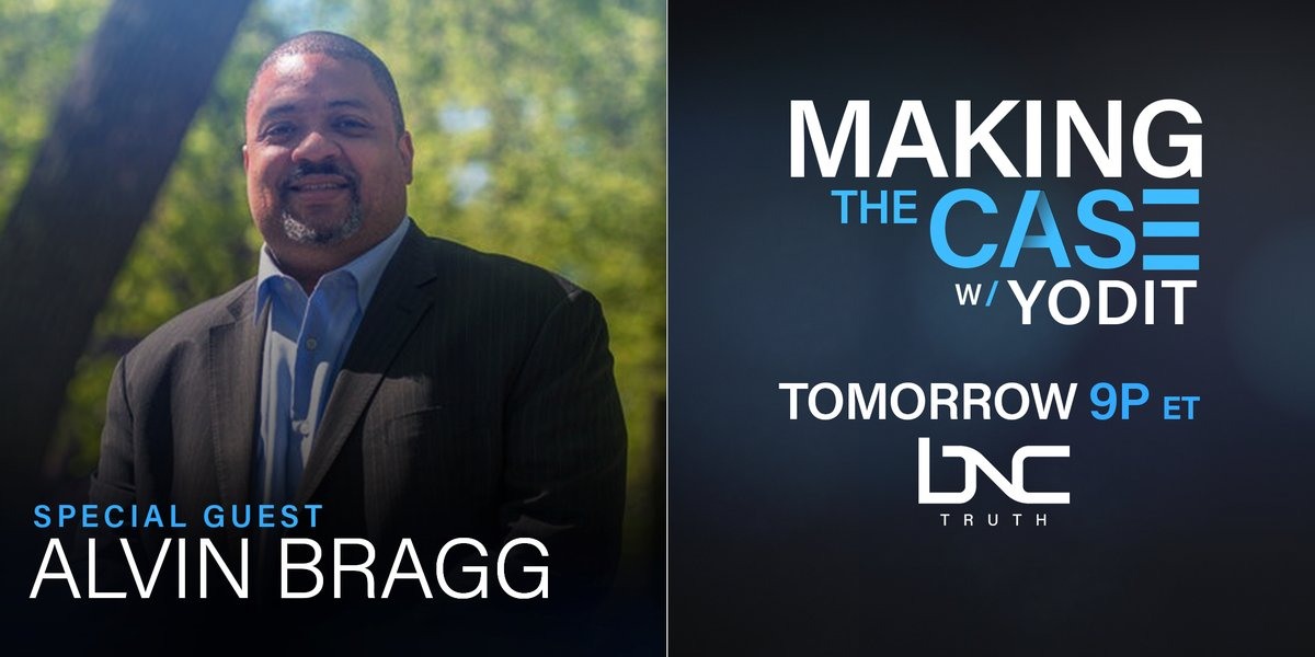 TOMORROW   Alvin Bragg (@AlvinBraggNYC), the presumptive future #districtattorney for Manhattan joins #MakingTheCase w/@yodittewolde to discuss police and prosecutor accountability and more, live, tomorrow at 9 p.m. EST. https://t.co/nFlr5qZWWj