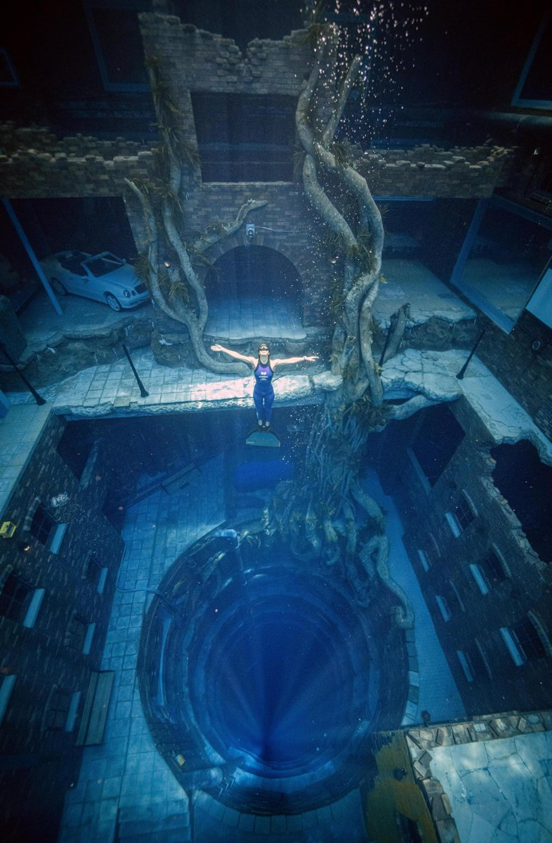 """Dubai Tourism on Twitter: """"Dive into another world at the deepest swimming  pool for diving in the world. At an incredible depth of 60.02 meters and  with 14 million litres of water,"""