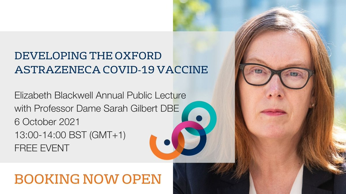 📢Join Professor Dame Sarah Gilbert DBE for our public lecture on 6 Oct 2021.   You'll hear the story of how the #AstraZeneca #COVID19 vaccine was developed at a pace, while the public waited eagerly for science to find a way out of the pandemic.  👉 https://t.co/7IdnUOq1iS https://t.co/b1HALvcmr2