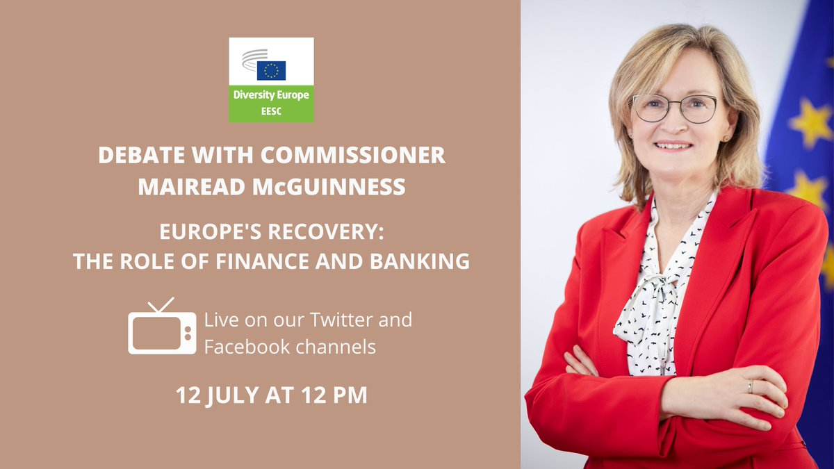 Looking forward to the debate with Commissioner Mairead @McGuinnessEU @EU_Finance next Monday how credit institutions can continue to contribute to leave the crisis behind.