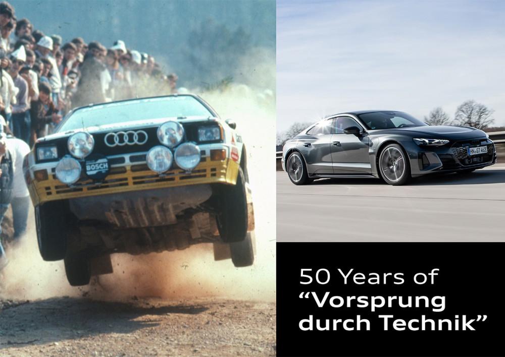 """Et slogan med historie: Audi markerer 50 år med """"Vorsprung durch Technik"""" https://t.co/DDPjEBHdYN https://t.co/wQ6rAwPKNF"""