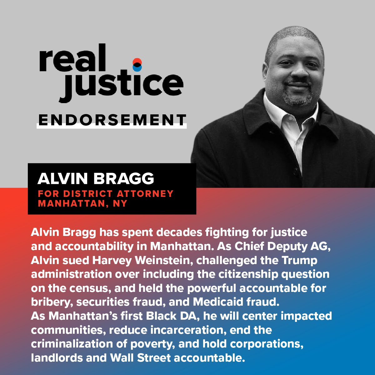 We're proud to endorse @AlvinBraggNYC for Manhattan DA!  Alvin has spent decades fighting for justice and accountability. As the first Black DA in Manhattan's history, we know he will work to center impacted communities.  Help Alvin win big in November: https://t.co/VaO0cSryXO https://t.co/xcoBgdQMoQ