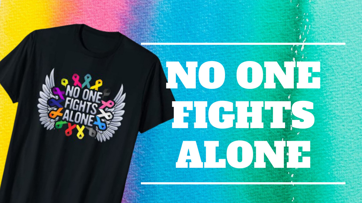 """Check out our """"No One Fights Alone"""" T-shirt addition to our shop.   Check it here ➨ https://t.co/XvEQVVhJfr  #cancersurvivor #cancerawareness #survivorsstrong #lifeaftercancer #breastcancerawareness #NationalCancerSurvivorsDay #cancerwarrior https://t.co/r2DgqCJH1S"""