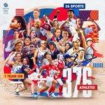 Image for the Tweet beginning: 376 athletes, 26 sports, 1