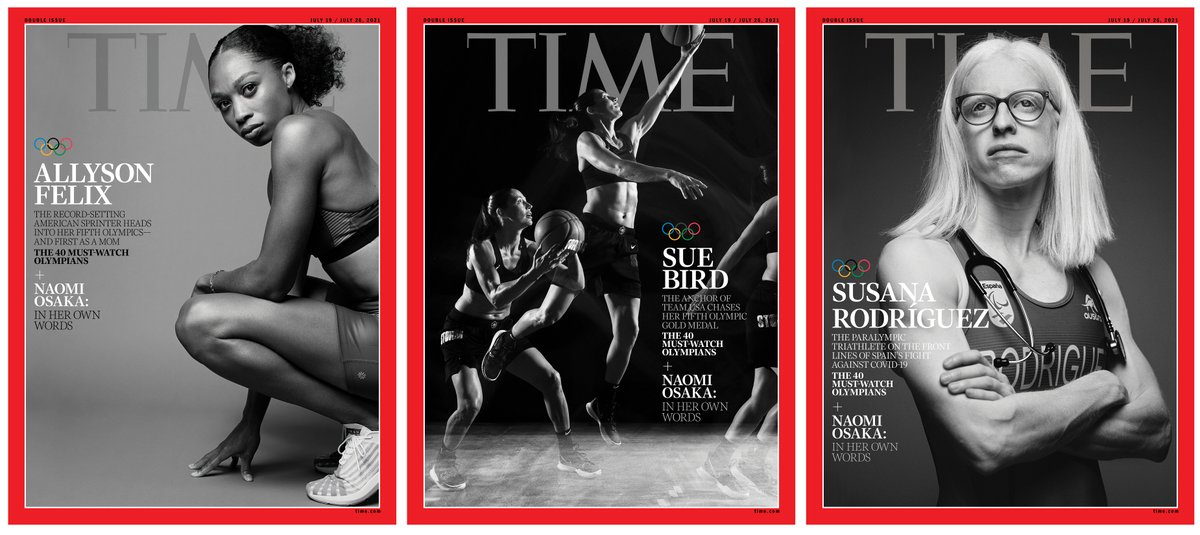 U.S. sprinter and mom Allyson Felix, https://t.co/YmyDb70QVc four-time gold medal basketball star Sue Bird https://t.co/EmgBRh81y2 and Spain's paralympic triathlete Susana Rodriguez https://t.co/jVMbYBLmvn grace this week's @TIME Olympic Preview covers https://t.co/4F4nxwsYts