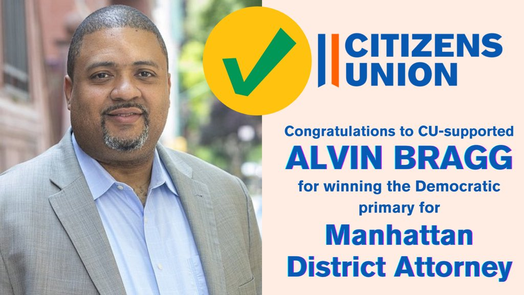 (5/13) Congratulations to Alvin Bragg for his victory in the Democratic primary for Manhattan District Attorney! We supported Bragg for his strong understanding of community concerns, and a thorough and cogent platform, particularly on dealing with police accountability. https://t.co/OIOMrw2tVd