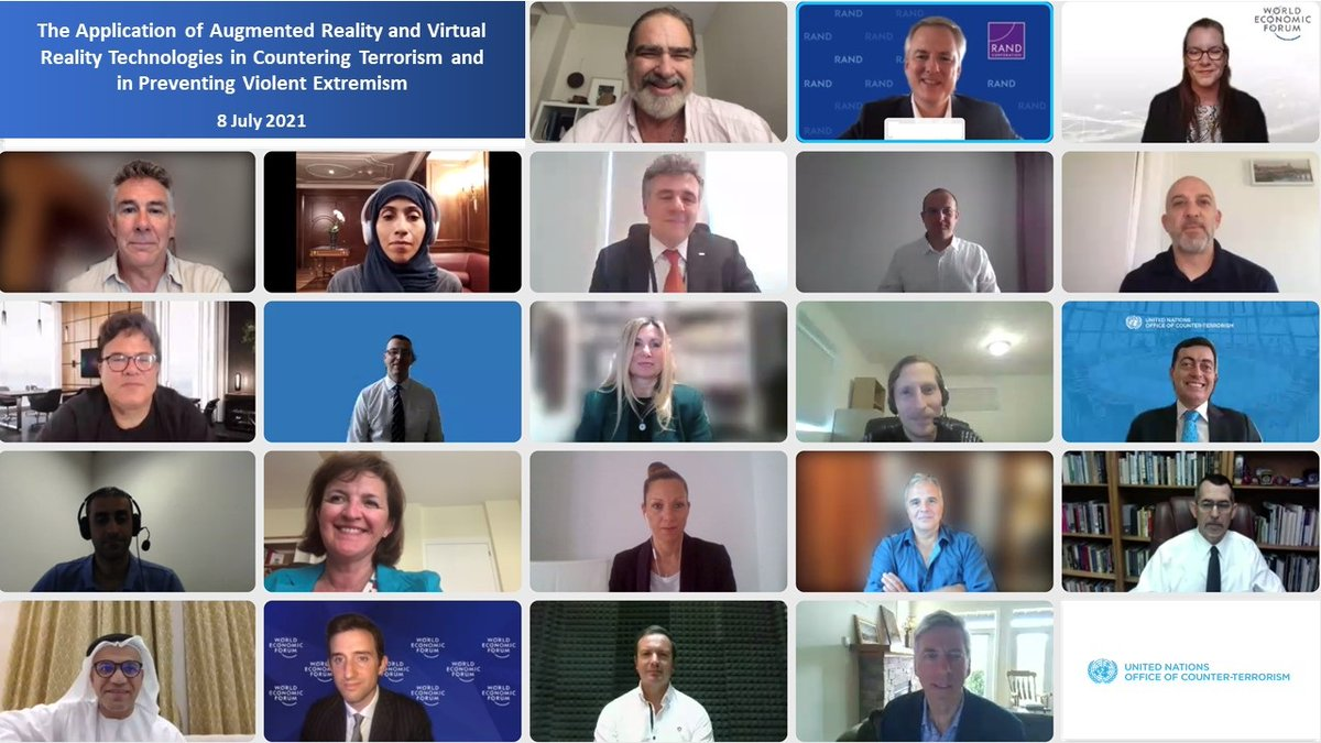 """Thank you for participating in the @UN_OCT event with the @wef Global Future Council on AR/VR on """"The application of #AR & #VR Technologies in #CounterTerrorism & #PCVE""""  #UNiteToCounterTerrorism  📺Watch the recording of the event: https://t.co/kzFIVsSA9H https://t.co/jXfiVkWqhE https://t.co/5OJFLGlZyY"""