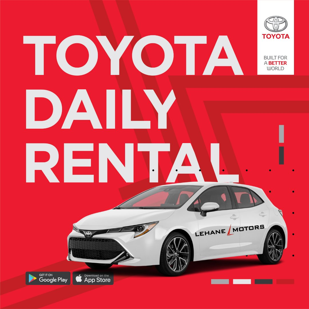 #Carhire without the fuss: simple, convenient, and affordable #rentals from Lehane Motors. Create an account on the TOYOTA DEALER RENTALS app, select a model, and collect from Lehane Motors.  📍 https://t.co/Xv1jIyRi6X 📞 (021) 4817700  #corkireland #newcar #corkcity #Toyota https://t.co/mxRuG4SSVF