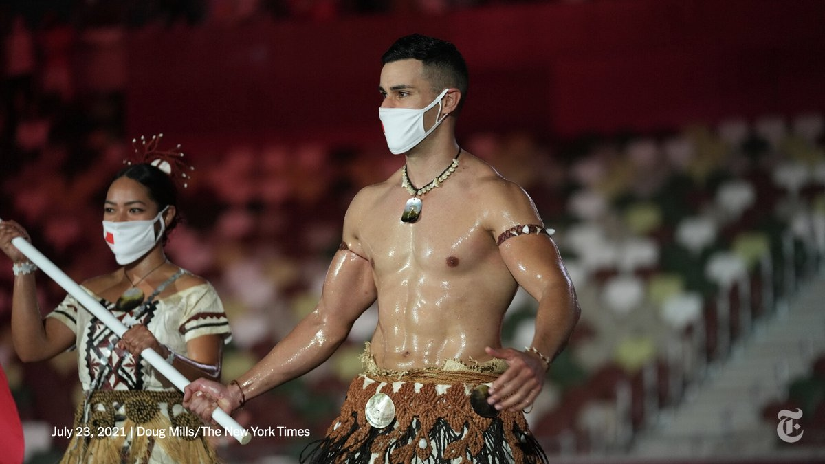 """""""The hot, shirtless Tongan flagbearer from Rio is BACK!""""  Pita Taufatofua became an overnight sensation five years ago when he marched shirtless and in a traditional Tongan outfit at the opening ceremonies in 2016 and 2018. He is back for #Tokyo2020. https://t.co/lSzzr8Lsf4 https://t.co/bT2HlMoKhO"""
