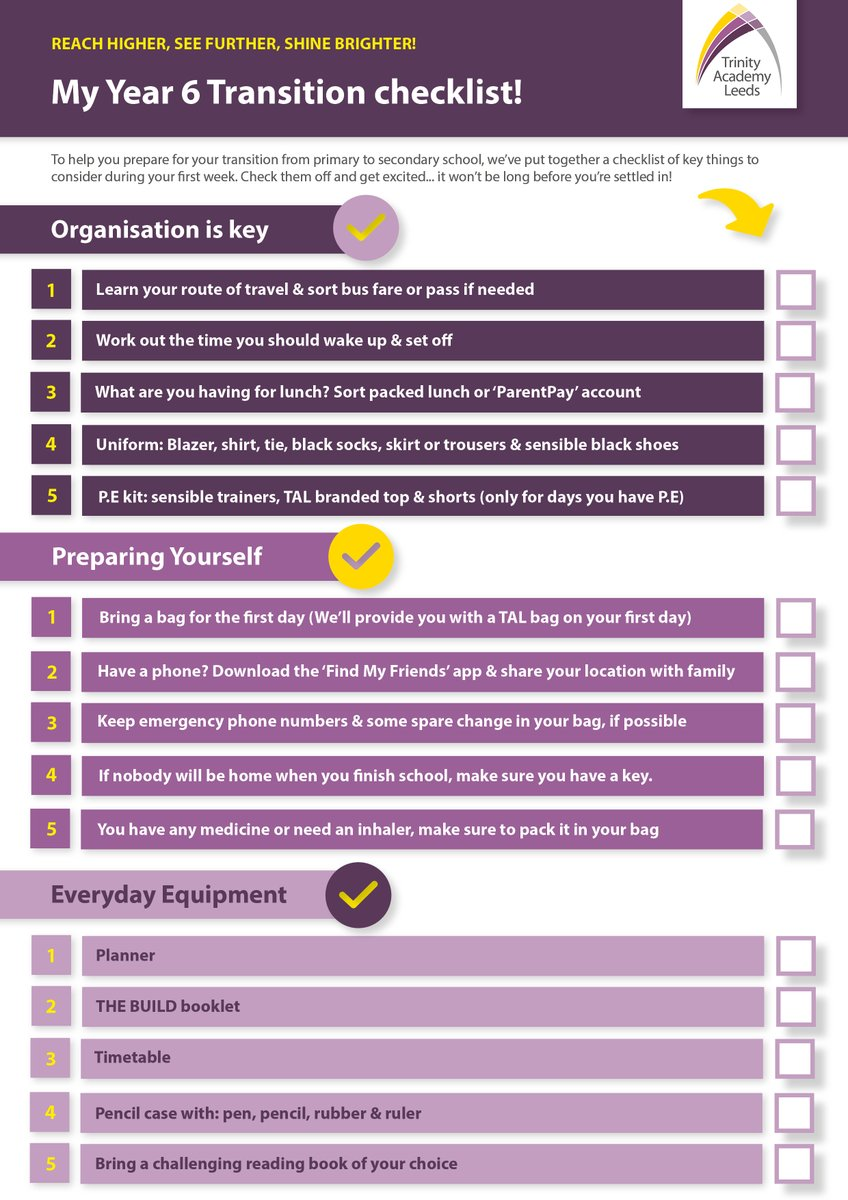 ⭐️ Year 6 Transition Checklist! We understand that the transition to #secondary school is a big one! To help you feel prepared, we've created a special TAL checklist ✅ Check items off & get excited...it won't be long before you're settled in: https://t.co/1cDnyZXq4G