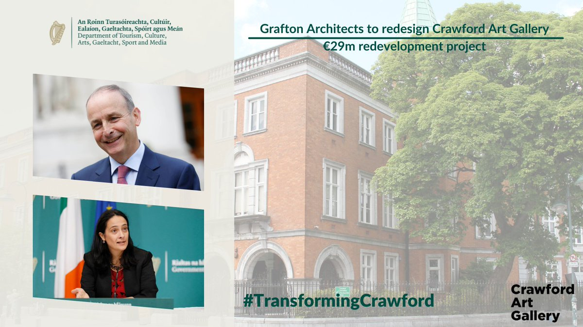 €29M @CrawfordArtGall REDEVELOPMENT 🏛️  Minister @cathmartingreen & Taoiseach @MichealMartinTD have announced award winning @graftonarchs as the design consultants of the €29m Crawford Art Gallery redevelopment.  Find out more ➡️ https://t.co/judGbITPdG   #TransformingCrawford https://t.co/ZEWRHsJ8cz
