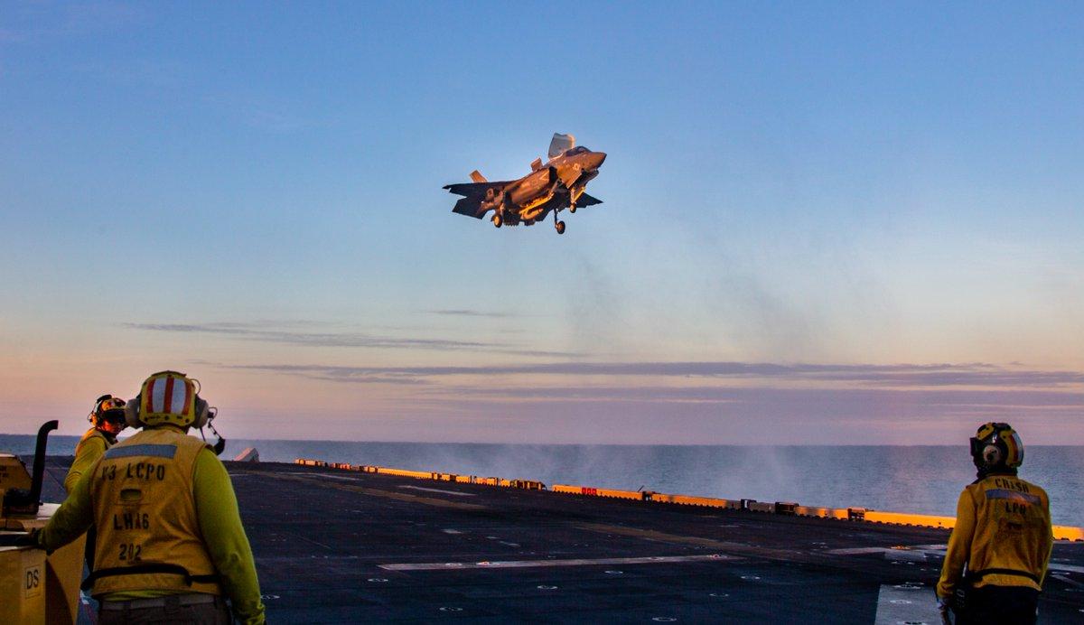 Lightning strikes at @TalismanSabre!   Marine Corps F-35B Lightning II's with VMM-265 (Rein), @31stMeu, conduct flight ops on the flight deck aboard the amphibious assault ship USS America (LHA 6) during #TalismanSabre2021.  #FightNow #FreeAndOpenIndoPacific https://t.co/aqfkJ7LWZs