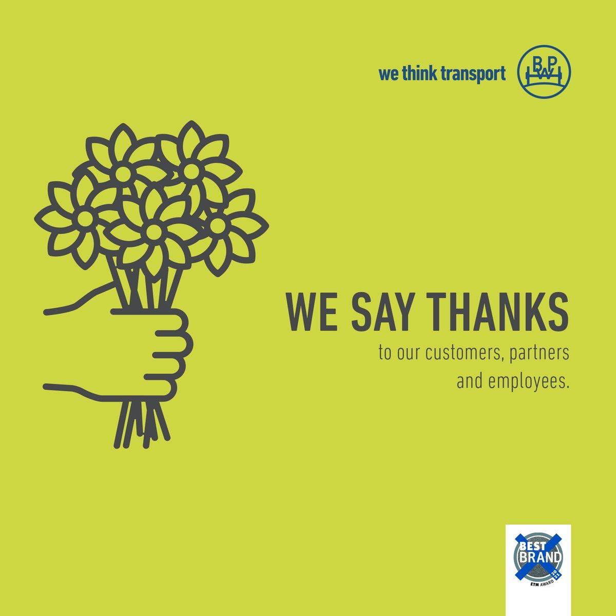 """Wir sagen Danke, für 15. Mal """"Best Brand"""" in der Kategorie Trailerachsen. 🤩🥳🙌  Wir sind stolz, dass BPW beim ETM-Award erneut zur bevorzugten Marke der Transport- und Logistikprofis Deutschlands gewählt wurde. Vielen Dank für eurer Vertrauen! https://t.co/YUkDkJRG9t"""