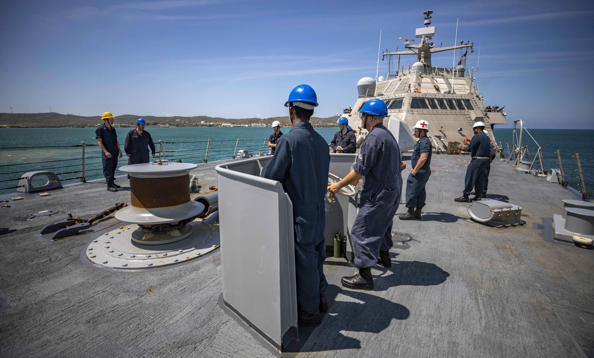 Heading back to sunny @NAVSOUS4THFLT! ☀️   #USSBillings departs Guantanamo Bay after stopping for supplies. Billings is s deployed to the #4thFleet AOR to support Joint Interagency Task Force South's mission, which includes counter-illicit drug trafficking missions. https://t.co/Zd11GIcuCm