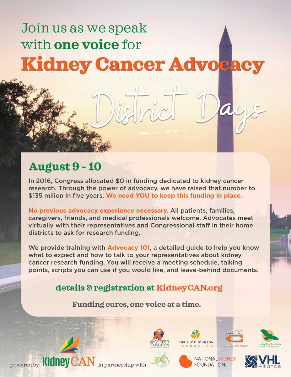It's not too late to join us for #DistrictDays! Let's speak up for #kidneycancer research funding. This is how we #acceleratecures.  Register now: https://t.co/Krdf9zTLrk  No experience needed! We got you!   CC: @CDMRP @NIH @NKF_Advocacy @HHammersMD @DrChoueiri @advocatekidneys