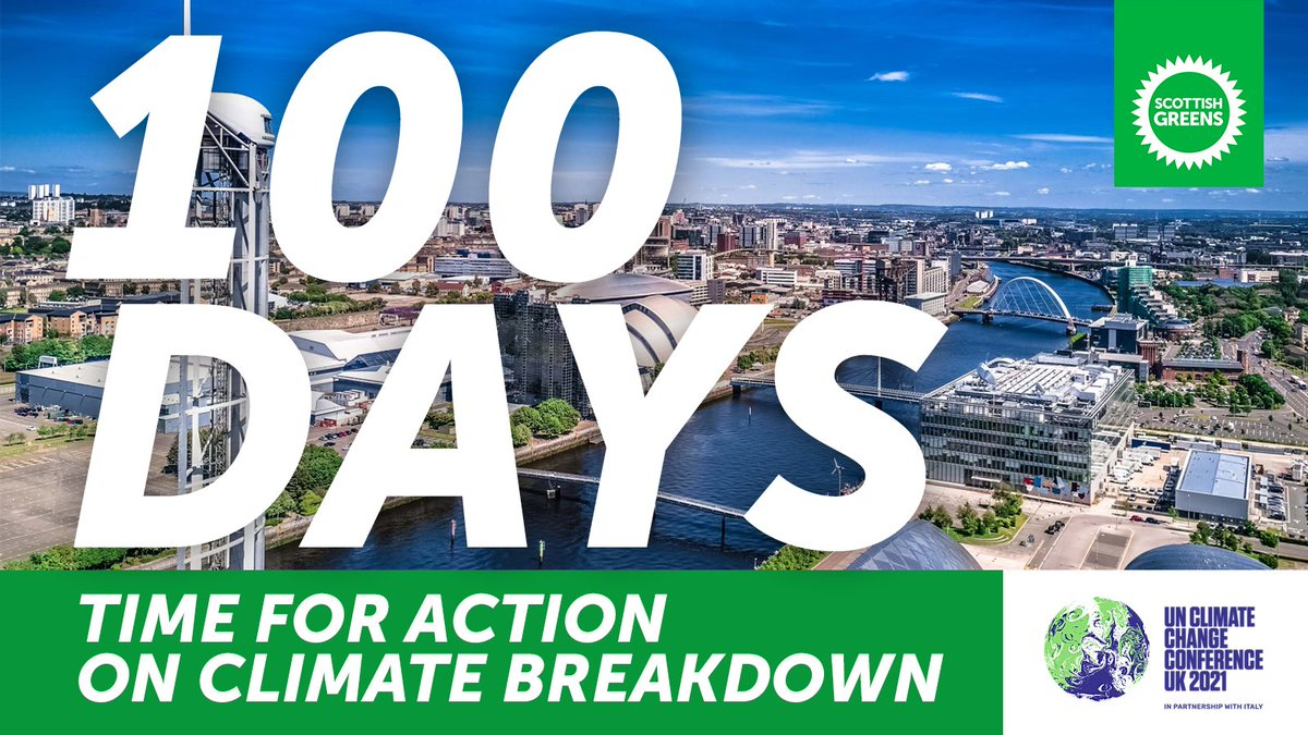 It's 100 days until #COP26 in Glasgow.  With just 9 years left to limit global warming to a level we can survive, we need credibility from world leaders - on an immediate start to the just transition, on investment in green infrastructure, and on a move away from oil & gas. https://t.co/3yaoHnlsS1