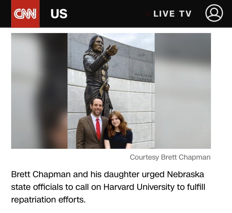 So cool of CNN to also give my daughter credit for calling on Harvard to return our Ponca ancestor Standing Bear's tomahawk! I think it's very important that my kids (and all Native kids) appreciate the importance of their history and culture. https://t.co/f9zO1h4OBJ