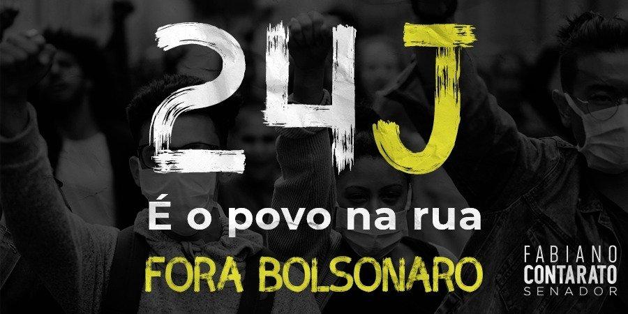 É AMANHÃ! Vamos ocupar as ruas do Brasil e lutar pelo #ForaBolsonaro! Um presidente que trata a vida dos brasileiros com irresponsabilidade não pode seguir ocupando o cargo de chefe do país. Participe com responsabilidade! Use máscara, leve seu álcool gel, e vamos juntos! #24J https://t.co/qPW2kIYp56