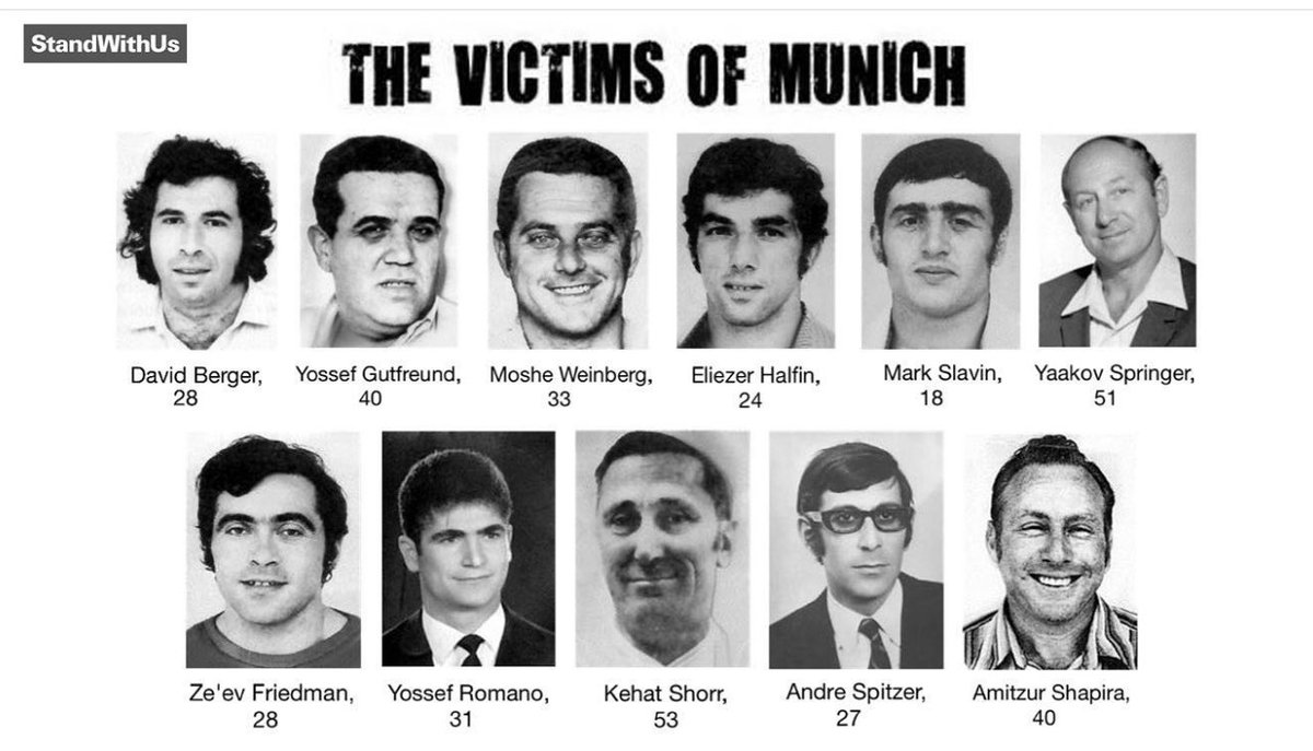 """Moti Ankari on Twitter: """"We remember those who were murdered during the Munich Olympics also known as the Munich Massacre. 11 Israeli athletes were murdered by Palestinian Terrorist. #Olympics #israel (graphic by @"""