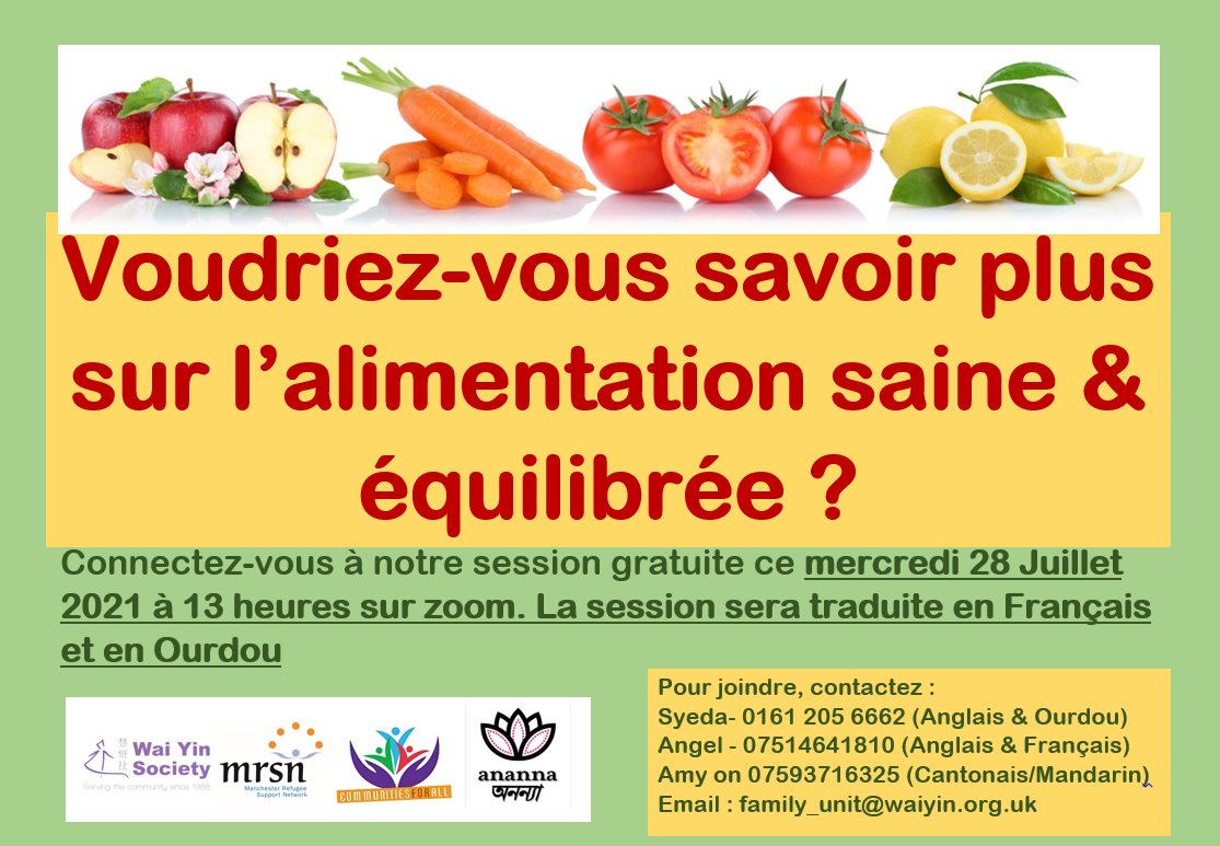 RT @waiyincws: Would you like to know more about healthy eating? Do you speak French? Our online session with interpreting is on Wednesday…