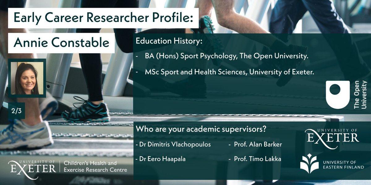 Annie studied first at @OpenUniversity, before coming to @UniofExeter for her MSc and PhD!  Annie collaborates with researchers from @UniEastFinland, being supervised by @EeroHaapala & Prof Timo Lakka, as well as @Dimitris_Vlach & Prof Alan Barker here @CHERC_UoE. https://t.co/39USL4y4cn