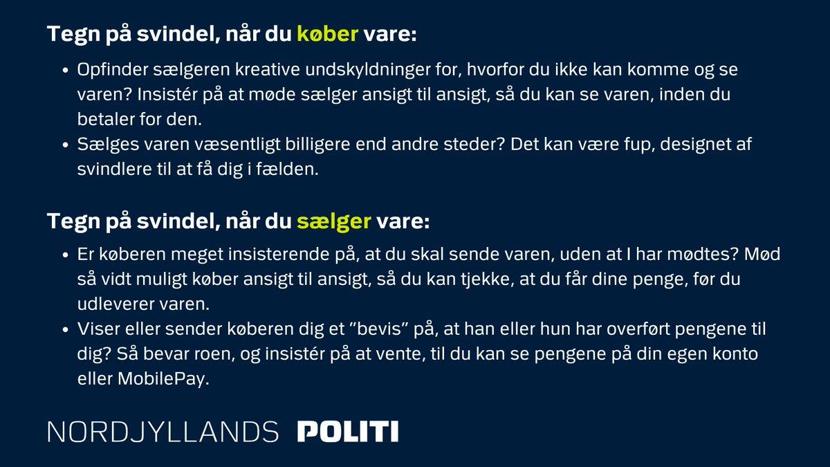 Brugte varer skifter hyppigt hænder på de digitale brugtmarkeder, hvor danskerne hver dag køber og sælger tøj, mobiltelefoner m.m. Men ikke alle købere og sælgere har reelle hensigter. #politidk #itkrim  Hold øje med tegnene, så du kan styre uden om svindlerne: https://t.co/e6qzbVQHHg