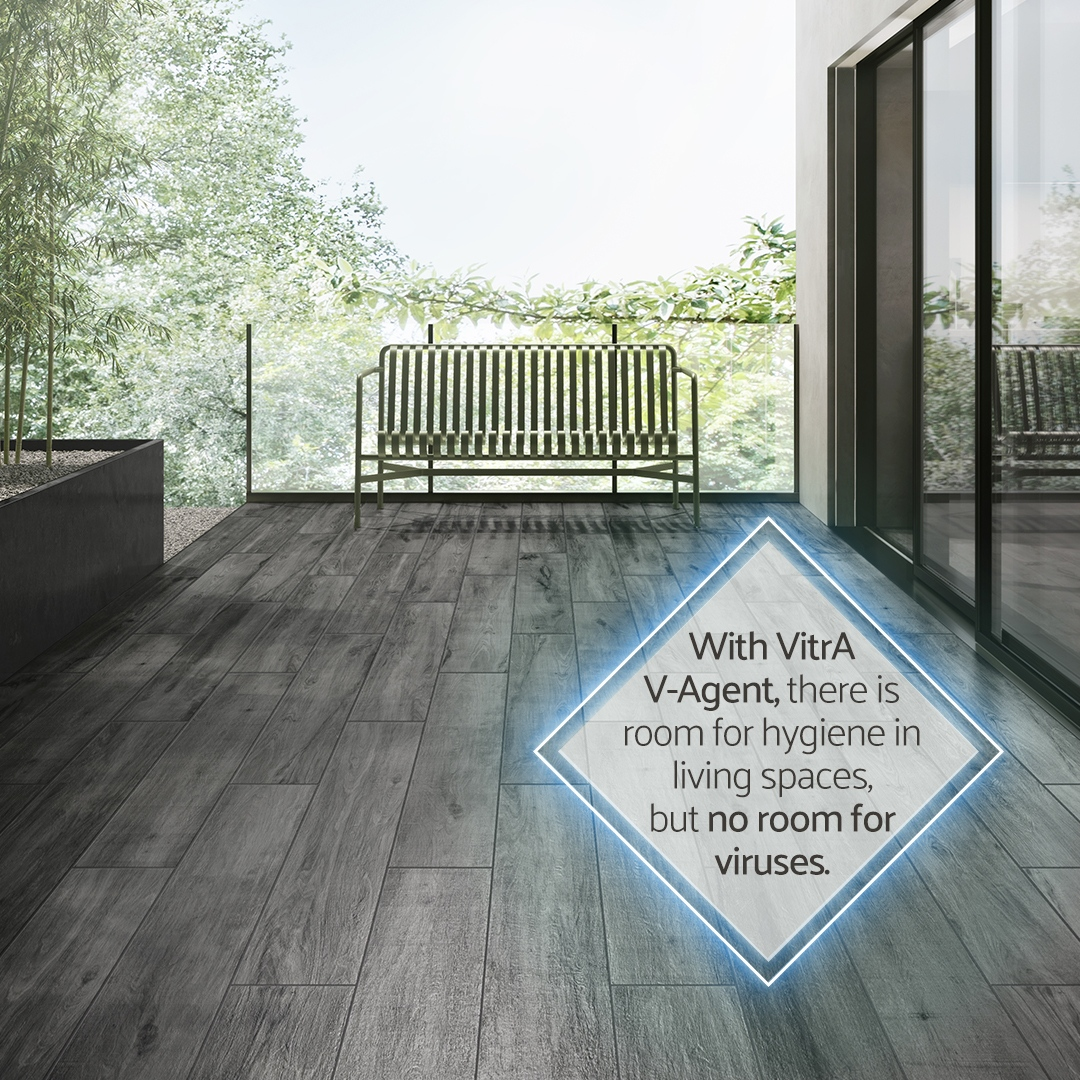 Level up the hygiene standards in your home with VitrA Tiles V-Agent smart surface technology. V-Agent reduces the effect of viruses and bacteria on surfaces by up to 99.99%.