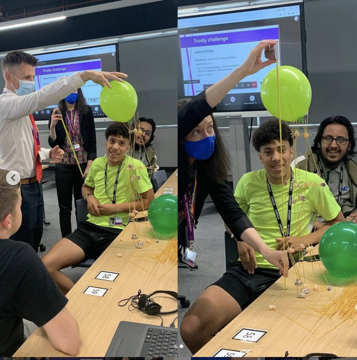🍝 SPAGHETTI CHALLENGE! 🍝 For our final Trinity+ sessions before the summer ☀️, we thought we'd spice things up a bit with some fun team-building challenges! We've tasked the students with building a free-standing structure using only dry spaghetti and jelly babies!