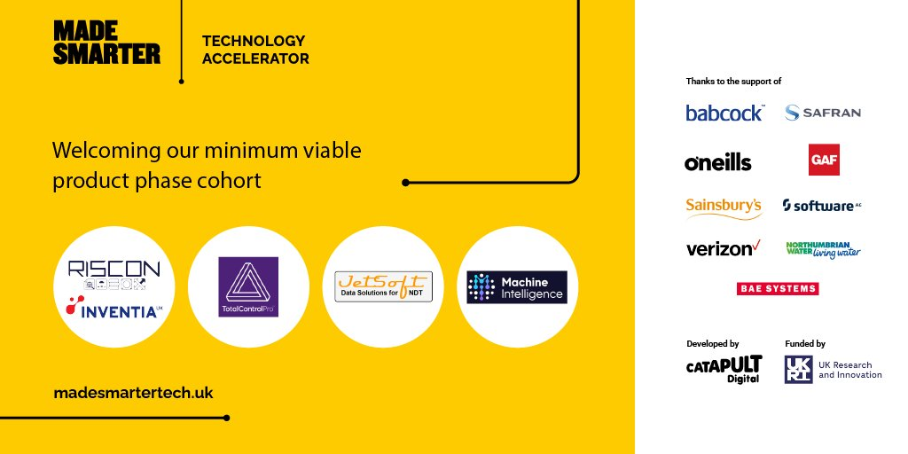 4 UK startups have been chosen by @DigiCatapult to develop MVPs for leading manufacturers - Molding & accelerating UK technology #innovation into industry.   This is part of the @UKRI_News funded #MadeSmarter Technology Accelerator programme:  https://t.co/1lxcqHvhTA