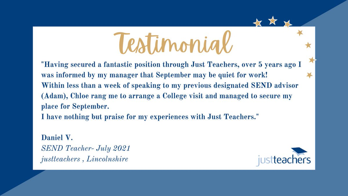 test Twitter Media - It's lovely to be ending the term with some lovely candidate feedback coming in for all our teams. Our Lincolnshire team have clearly impressed someone who is returning to jt from 5 years ago! #testimonials #recommendafriend #teachers #SEND #educationrecruitment #jobsineducation https://t.co/UMHNz06BbE