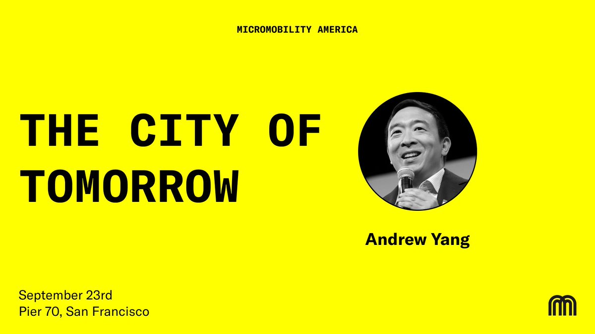 🧢 Break out your finest baseball cap    @AndrewYang is coming to #MicromobilityAmerica in SF on Sept 23 to share his thoughts on America's micromobility future.  Book your tickets now. You're not gonna want to miss this: https://t.co/gHSWJHqfAR https://t.co/tj6a8OwniD