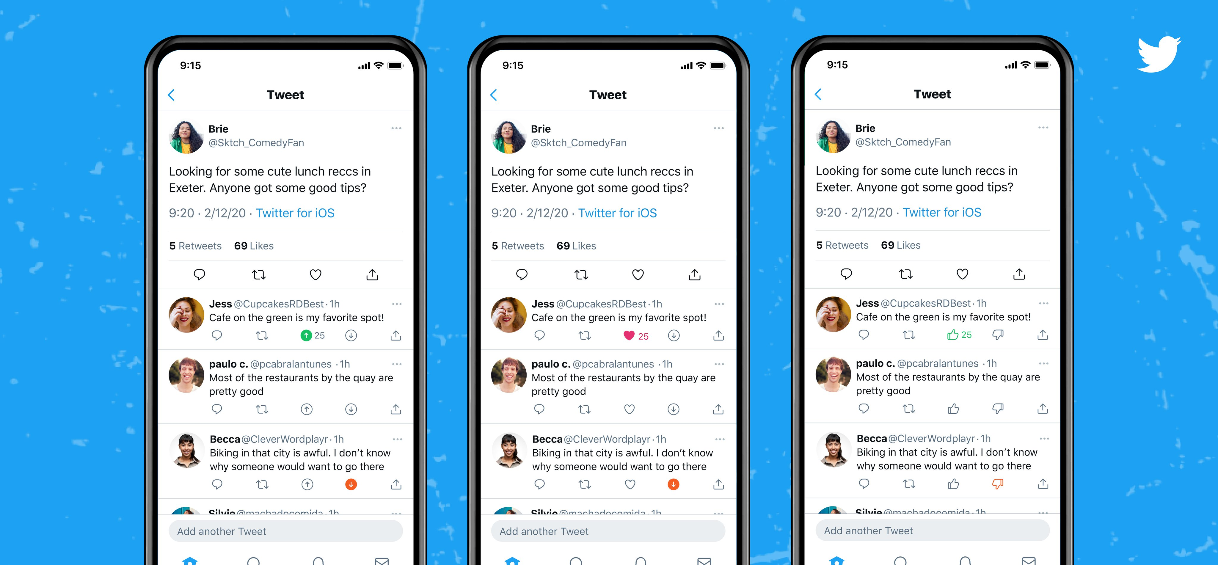 Three phones showing the app version of a Tweet and its replies. The first has replies with the options to vote with an up or down arrow –– the up arrow shows in place of the Like icon. The second has replies with the option to vote with a down arrow only. The third has replies with the option to vote with a thumbs up or thumbs down icon –– the thumbs up icon shows in place of the Like icon.