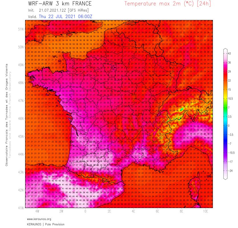 36 à 38°C cet après-midi dans le sud-est avec 37,1°C à Nîmes notamment. Les fortes chaleurs gagnent le sud-ouest demain jeudi où il fera 36 à 38°C entre le sud Aquitaine et la plaine toulousaine.