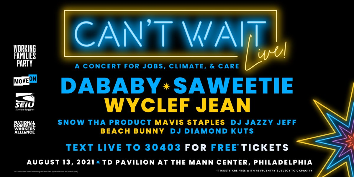 Philly, get ready.  On August 13th, we're joining w/ @Saweetie, @DaBabyDaBaby, @MavisStaples, @wyclef, @djjazzyjeff215 to send a clear message to Congress that we can't wait for jobs, care, & climate action.  Get your *free* tickets here: https://t.co/AguRXlZRu6 #CantWaitLIVE https://t.co/zZWlpVKBQh