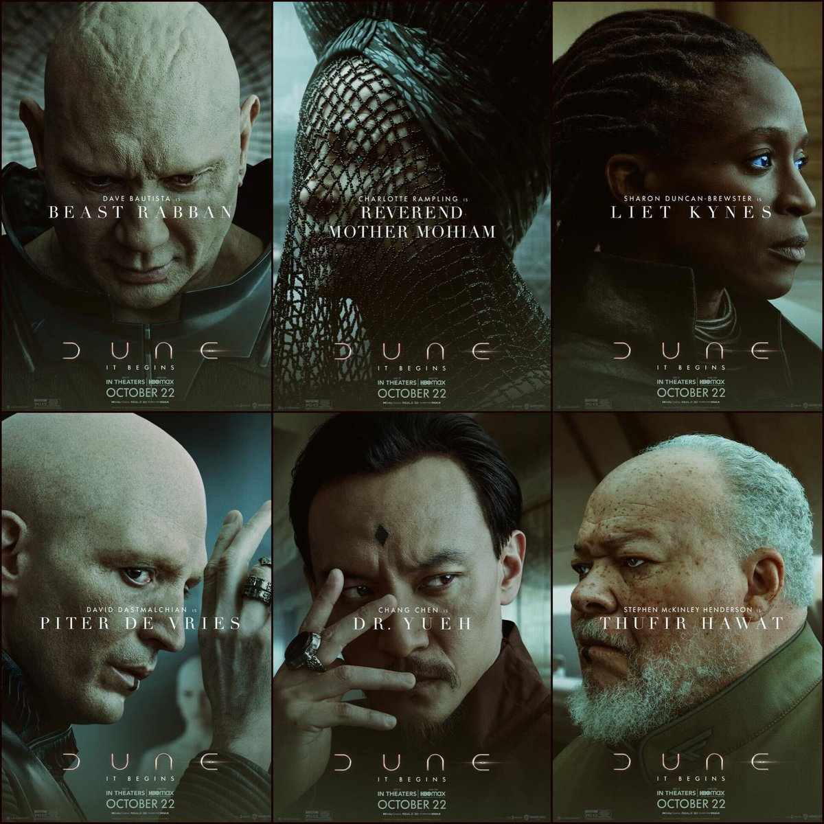 """Rotten Tomatoes on Twitter: """"Dave Bautista, Charlotte Rampling, Sharon  Duncan-Brewster, David Dastmalchian, Chang Chen, and Stephen McKinley  Henderson get all-new character posters for #Dune.… https://t.co/qj2t1h7m8x"""""""