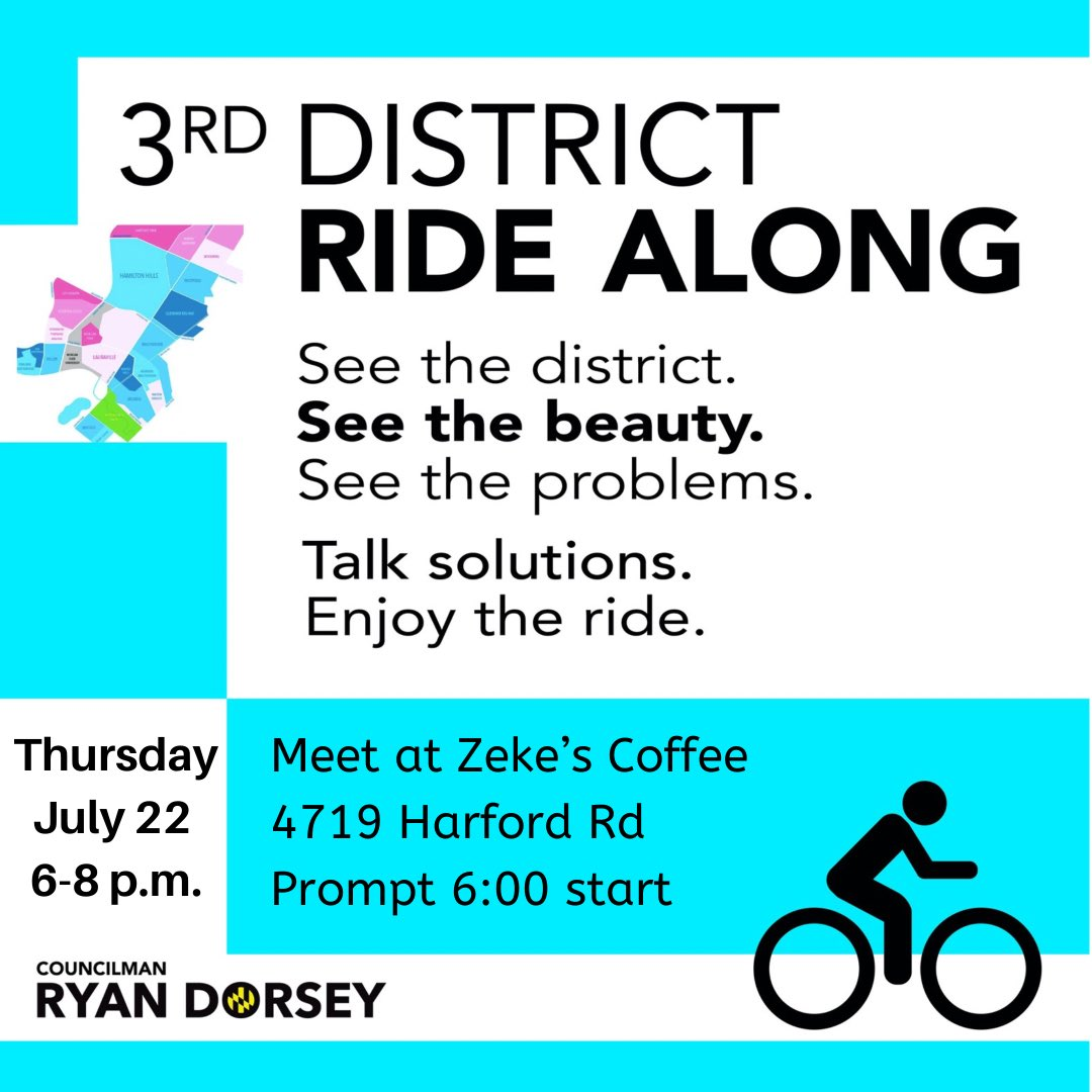 Come ride bikes with me and Councilman @ElectRyanDorsey tomorrow night in the 3rd and 43rd District!   #Working4MD #delegatesridebikes #biking #43rd #3rd #communityride https://t.co/gHLooG4TpP