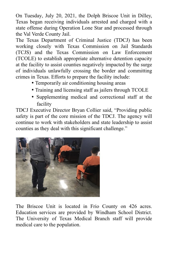 #BREAKING As of yesterday, Texas began transferring arrested immigrants into a state prison, per Abbott's order.   This is TDCJ statement on it: https://t.co/UJxOeT49Dk