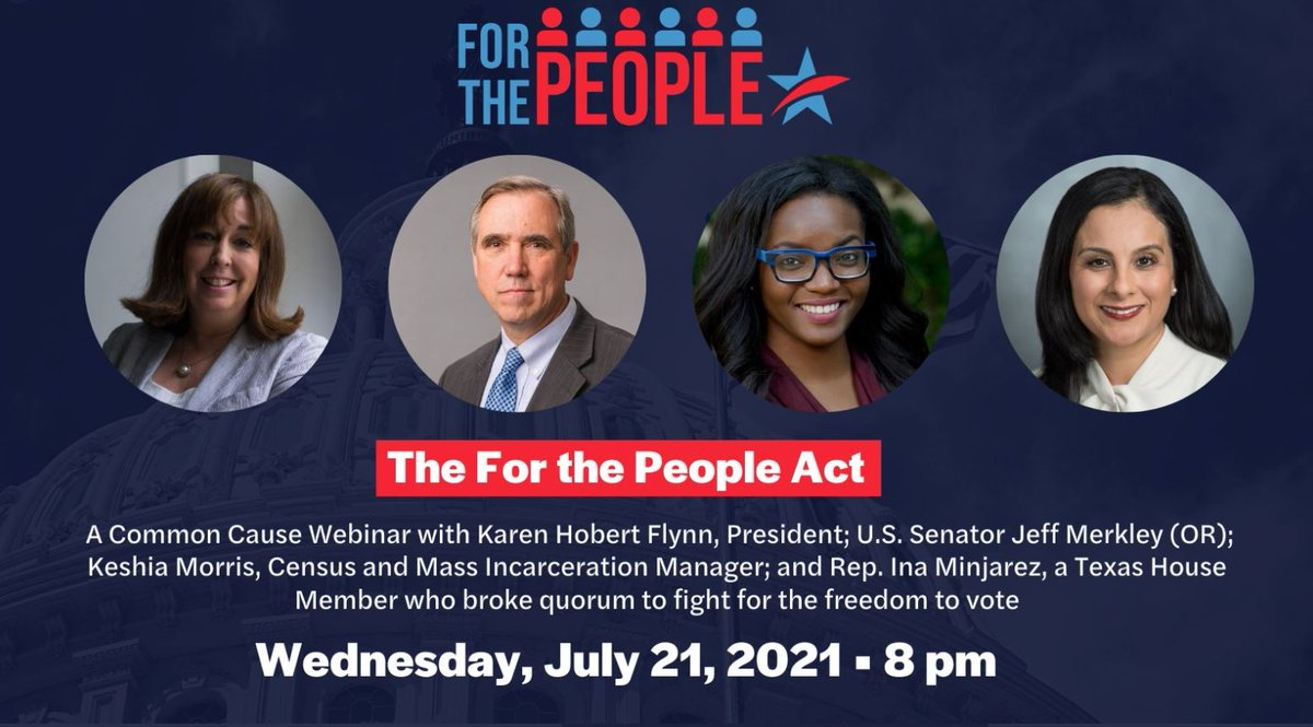 Tune in now! Join @CommonCause President @KHobertFlynn, Senator @JeffMerkley, @Keshia_MD & TX Rep. @Vote4Ina about the #ForThePeopleAct and the path forward. #S1 #HR1   Link to livestream: https://t.co/hLbV1LGqpp https://t.co/Obrdsy5CwF