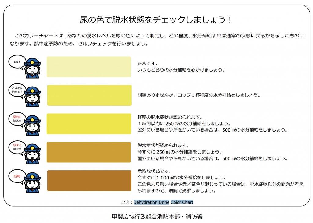 脱水の症状を見極めるうえで重要なサインとなるのは「尿の色」です。夏場はトイレに行った際に自分の尿を見ることで自分の体調がわかります。色が濃くなっている場合は脱水状況にあるので、すみやかに水分補給をしてください。今年の夏も暑そうなのでぜひ意識してくださいね。
