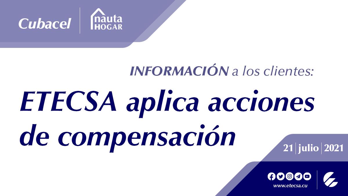 Etecsa compensará a usuarios de datos móviles y con cuentas de Nauta Hogar