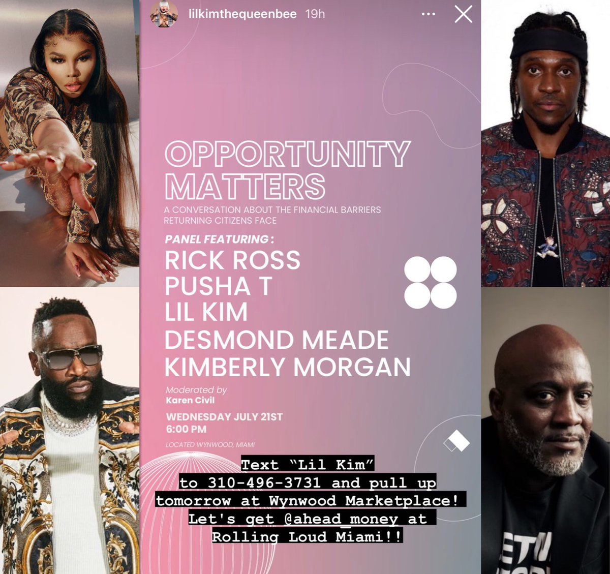 MIAMI FL, Lil' Kim, Rick Ross, Pusha T, Desmond Meade, & Kimberly Morgan have a sit down about life after the pen and financial barriers https://t.co/g1icQXVqqI