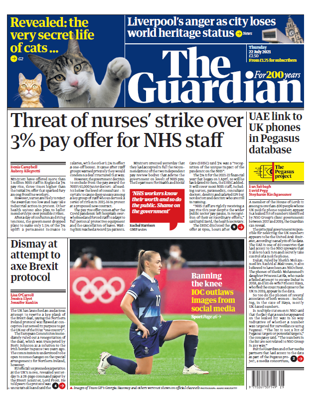 """test Twitter Media - Thursday's Guardian: """"Threat of nurses' strike over 3% pay offer for NHS staff"""" #BBCPapers #TomorrowsPapersToday https://t.co/7FuHsAa3Vz https://t.co/zWrlxhQMlE"""